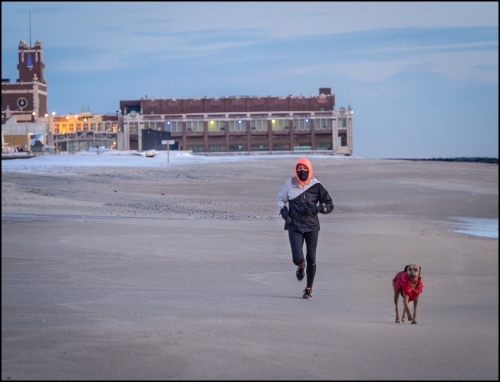 15 degrees in Ocean Grove this Jan. 28, 2015 Wednesday morning.   Ninja Girl and her dedicated doggie on a morning run.  © By Bob Bowné, special to Blogfinger