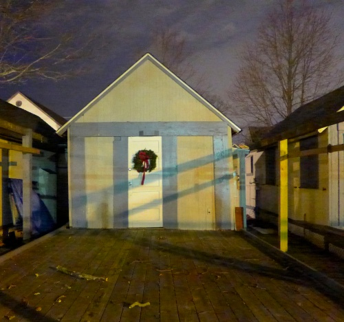 OG tent in its winter garb.  the canvas part is put away.  the wooden structure is permanent.  Dec. 2014.  Paul Goldfinger photo ©