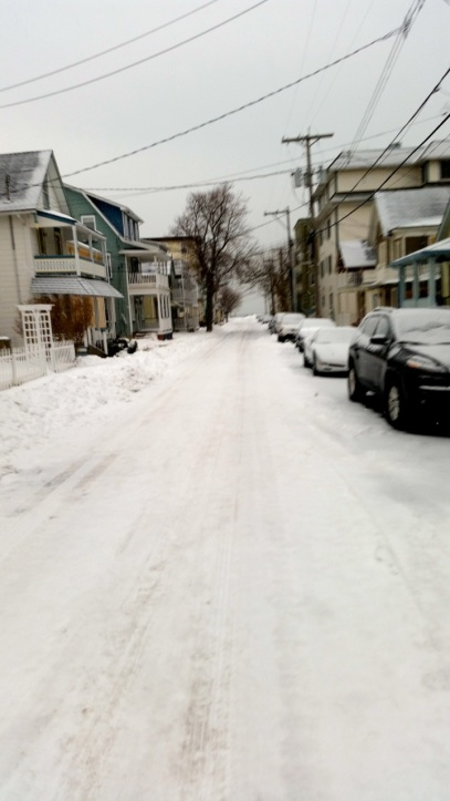 Chris Carlucci sends us this photo of Olin Street.  He wants to know if he left his sidewalk like this would he get a ticket?   Jan 30, 2015