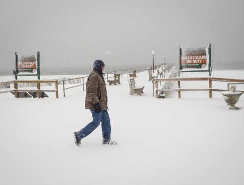 It's not a beach day in OG. Bob Bowné is fearless as he steps outside and clicks the shutter.  March 5, 2015.
