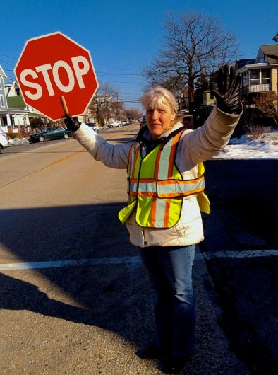 Virginia 'Sissy' Majewski is one of Ocean Grove's 2 crossing guards. She has been crossing school children for 20 Years. A very important job. Thank you Sissy! Photo by Jean Bredin, Blogfinger staff . ©