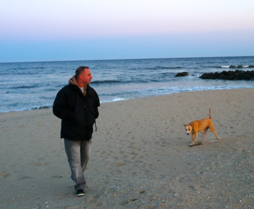 Moe Demby, Blogfinger  reporter/photographer, visits the OG beach with Chico on a quiet late afternoon in April. 2015