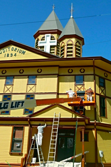 Spring touch-up at the Greatest Auditorium. Jean Bredin, Blogfinger staff. April 22, 2015.