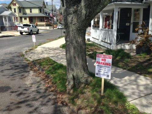 Asbury Avenue near Delaware, No parking Sunday, April 26, 6 am to 1 pm.