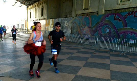 Watch for Ted Bell running through the Casino in his tutu.  Photo by Paul Goldfinger at the 2014 NJ Marathon  ©