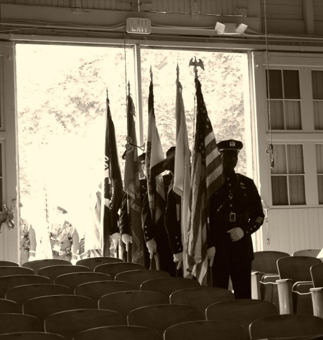 A color police color guard signals the start of the Memorial Service.  All photographs by Paul Goldfinger, editor @Blogfinger. ©