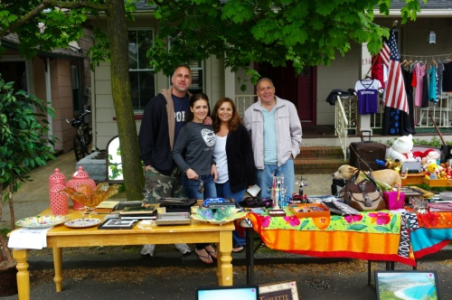 At the far reaches of Heck Ave. a successful sale was underway. Left to right: Mike, Nadine, Rosa and Tony. Paul Goldfinger photo ©