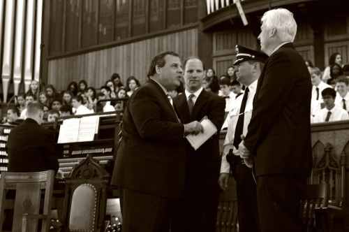 Gov. Christie on stage before the ceremony. ©