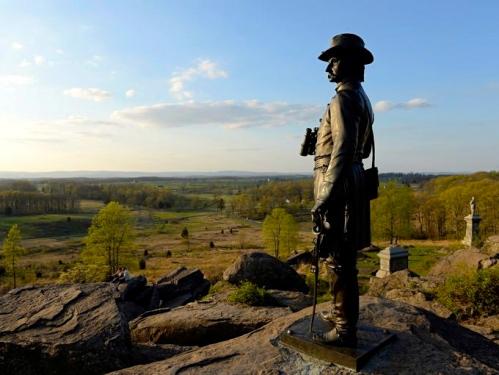Gen. G. K. Warren, Union Army. STanding on  Little Round Top at Gettysburg National Park,