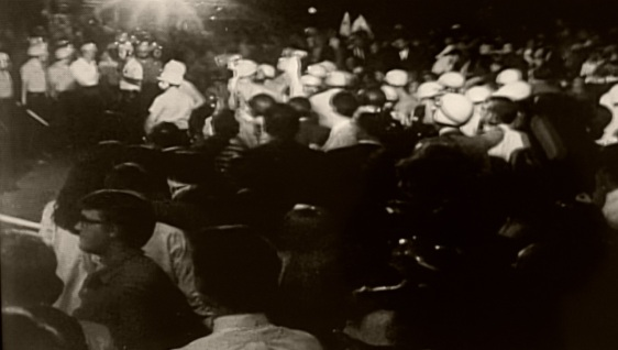 This still is from a video being shown of the rioting at the Democratic Nat. Convention 1968. Paul Goldfinger still