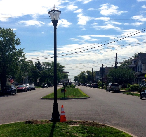 New Victorian lights being installed on Broadway. June 17, 2015. Heading east, they are near Delaware Avenue. Blogfinger photo. © Click for more wattage.