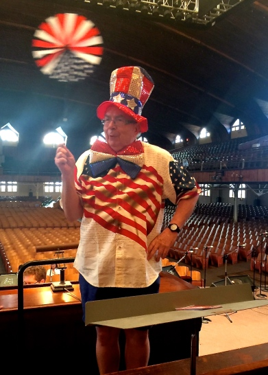 Photographer Ted Aanensen, Blogfinger staff says, Encouraging Auditorium Choir members to march in the 4th of July parade.  It is Ocean Grove isn't it!! Ted.   ©  June 13, 2015.