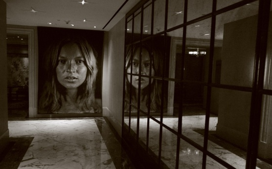 Kate Moss portrait by Chuck Close in the lobby of the Hotel Surrey on East 76th Street. By Paul Goldfinger © 2014.