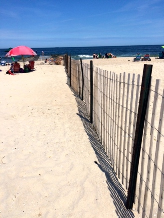 FEnce erected between OG and Bradley Beach. Source tells us that BB wants to keep Sunday morning OG bathers out.  Photo by Prosper Bellizia, BF reporter. ©