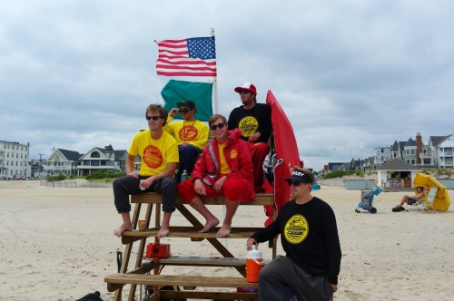 Ocean Grove life guards on the ready, toes to go. Paul Goldfinger photo June, 2015   ©