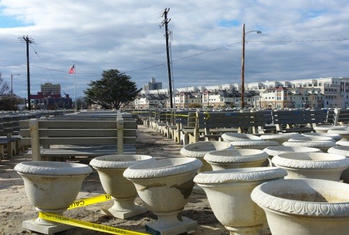 Urns and benches at theNorth End waiting for a new boardwalk. November 4, 2012 post Sandy.  By Paul Goldfinger ©