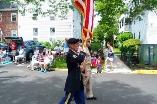 Mauro Bacolo of  Asbury Avenue in OG leads a military contingent.  July 4, 2015. Blogfinger.net ©