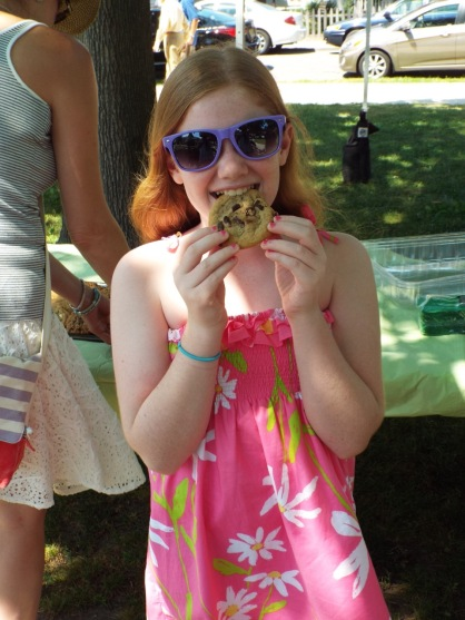 A girl in her summer clothes.  Who doesn't love chocolate chip cookies?   Jean Bredin photo  8/2/15  Blogfinger.net ©