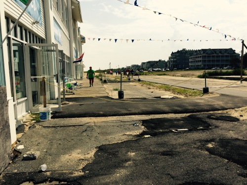 This is where the new boardwalk will be 35 feet wide in front of the White Whale. 8/25/15. Blogfinger.net photos.
