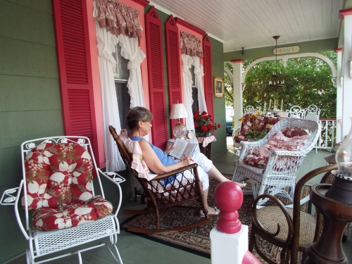Judy on her porch. Photo by jean Bredin, Blogfinger staff. ©
