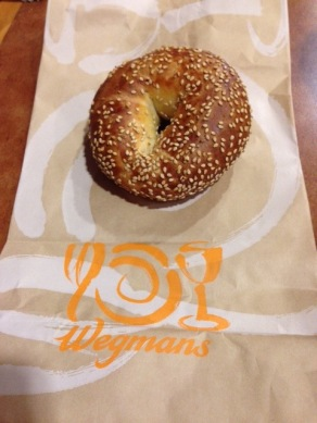 This is the custom bagel which they make for me at Wegmans. They bake it about 10 minutes longer to get it darker and crunchier on the outside.