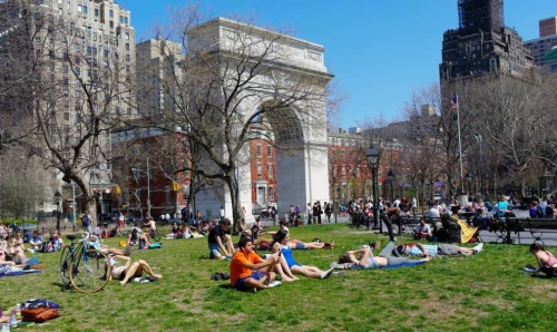 This image of Washington Square Park from 4/9/13 attracts viewers in 2015. Paul Goldfinger photo. NYC Street Series. ©