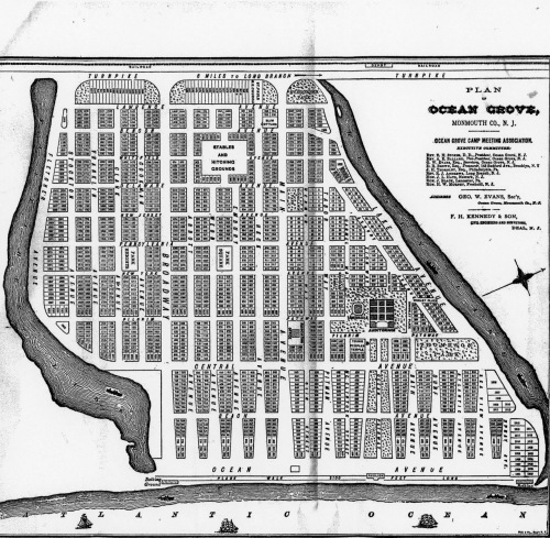1888 Map of Ocean Grove, courtesy of Ted Bell, HSOG.