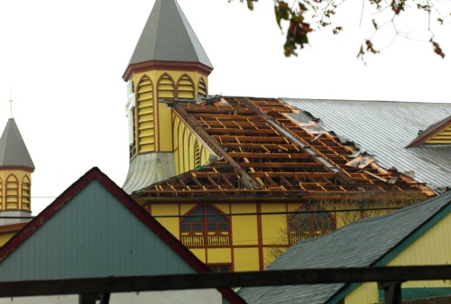Great Auditorium roof was damaged, fore and aft. It still awaits a permanent fix. Oct. 30, 2012. Paul Goldfinger photo ©