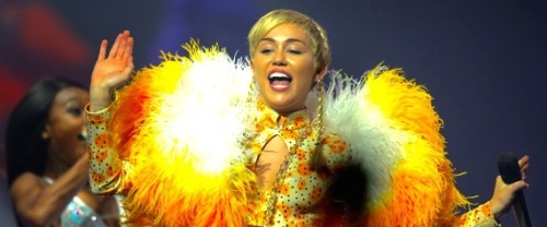 Miley Cyrus performs her Bangerz Tour live at Perth Arena on October 23, 2014 in Perth, Australia.