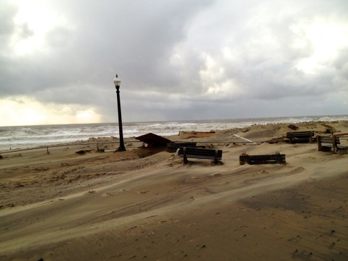 Ocean Grove boardwalk. Oct. 30, 2012n8:00 am. Paul Goldfinger photo