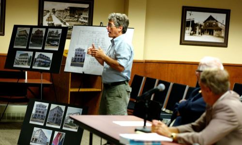 August 2012. Kevin Chambers, and OG histsorian, testifies at the HPC demolition hearing re: Whitfield Hotel on Surf Avenue.  Paul Goldfinger photo ©