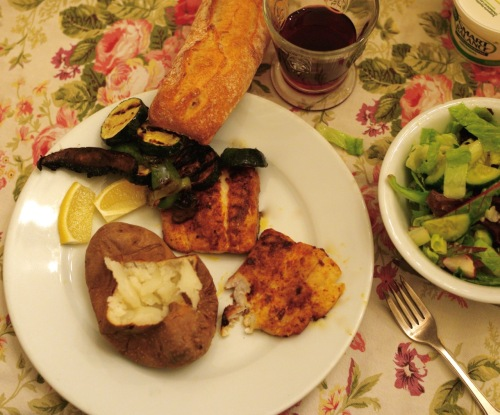 Fluke dinner with grilled vegetables (peppers, zucchini, portobella mushrooms,) baked potato, ciabatta bread, salad, (with baby lettuce and romaine,) and Bordeaux wine. Paul Goldfinger photo in Eileen's Ocean Grove kitchen. © November, 2015.