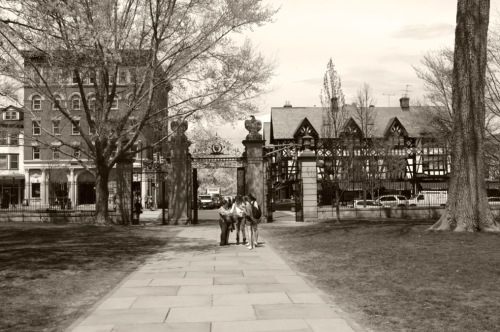 A gaggle of Princeton coeds at Nassau Gate. April, 2015. Paul Goldfinger photo ©