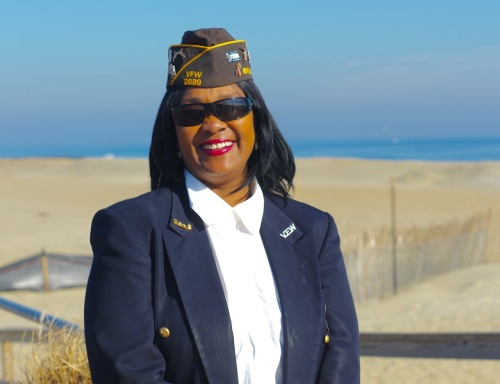 Kathy Bray formerly of the US Army Military Police. December 7, 2015. Ocean Grove, NJ. Paul Goldfinger portrait. ©