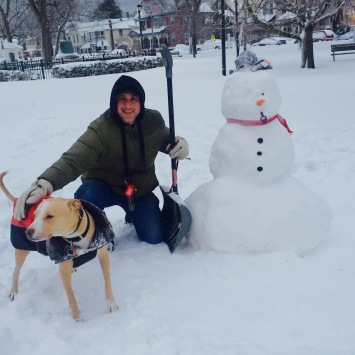 Snowmen and a snow dog: Moe and Chico in Firemen's Park. Could that be a snow woman? Photo by Nadine DeSousa. ©