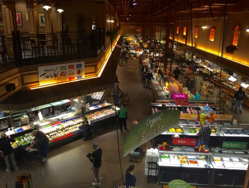 A birds eye view of part of the Wegman's fresh food section. Paul Goldfinger photo while seated in © the second floor café