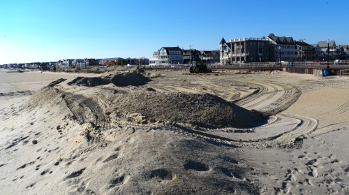 Temporary berms being constructed at South Beach, Ocean Grove. Jan. 21, 2016. Paul Goldfinger photo ©