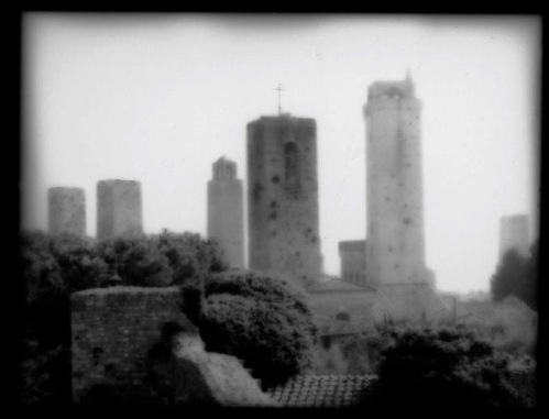Tuscany: This ancient town was a walled village in 450 A.D. Its towers are internationally known. Paul Goldfinger photo. Silver gelatin print. ©