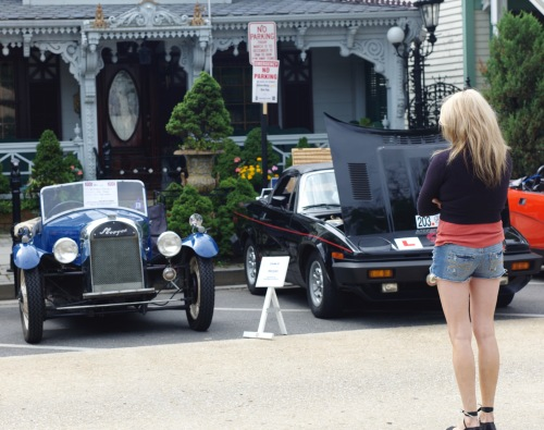 Even the British like to park in Ocean Grove, and cool cars attract even more crowding. Paul Goldfinger photo. Too bad she got in my way. ©