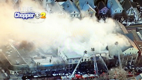 February 5, 2015 fire on Main Avenue in Ocean Grove, NJ destroys a building at #50 Main Ave. TV News Report