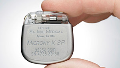 A tiny modern version of a permanent pacemaker.