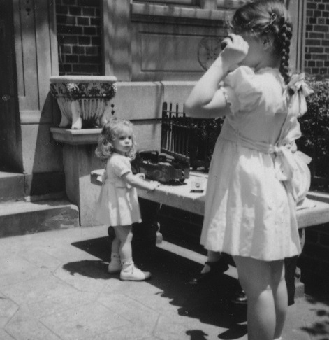 Eileen (r) and sister Hope. c. 1950's. Eastern Parkway.  Photo by Bernard Harkavy.
