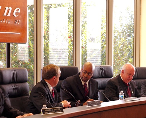 Committeeman Bishop, a Democrat, is seated to the right in this photo of the Neptune Township Committee. Blogfinger file photo. ©