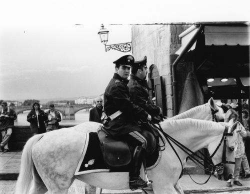 Carabinieri.  Florence Italy. Ponte Vecchio across the Arno River.  Paul Goldfinger