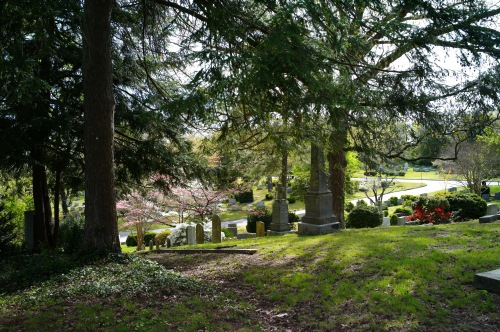 Hollywood Cemetery Richmond, Virginia overlooks the James River and is in a historic neighborhood adjacent to the VCU campus. It reminds one of Central Park with rolling hills and vales. Paul Goldfinger photo. 4/15/16 ©