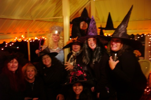 Witches assemble on Heck Avenue for Halloween. 10/31/15. © Paul Goldfinger photograph