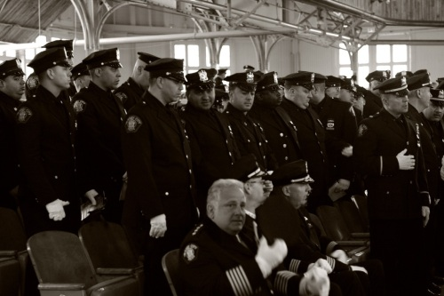 Jersey City Police in the Great Auditorium for the 2015 Memorial Service. Paul Goldfinger photo © May 19, 2015