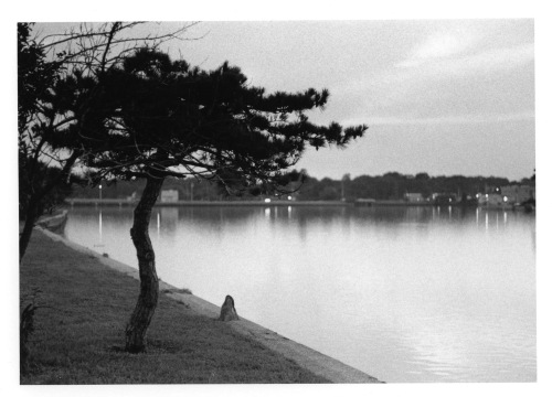 """""""Grey skies are gonna clear up; put on a happy face."""" Deal Lake on the Asbury side. Paul Goldfinger photo. Undated. ©"""