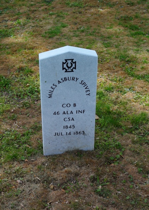 Miles Asbury Spivey, fro from Alabama died in the war at age 18. He is buried in Hollywood Cemetery in Richmond. He probably died at Gettysburg