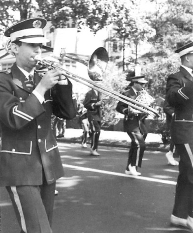 Bro' Mel Goldfinger with the Rutherford High School marching band in the annual Memorial Day parade. c. 1965.